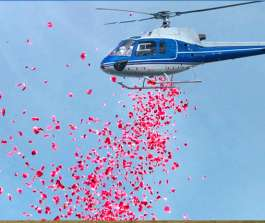Flower Shower from Helicopter