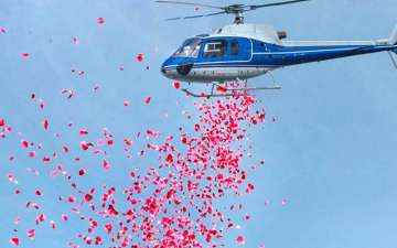 Flower Shower from Helicopter in Rajasthan