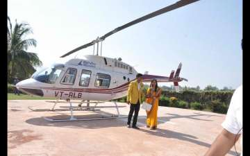 Key Pieces of Wedding Entry by Helicopter